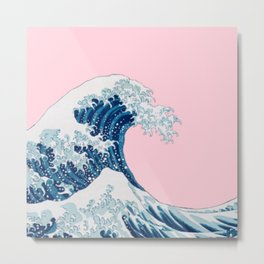 The Great Wave with Pink Background Metal Print