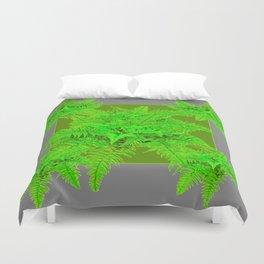 REFRESHING  NATURAL GREEN FERNS  GREY ART Duvet Cover