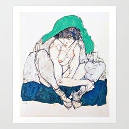 Egon Schiele - Crouching Woman with Green Headscarf - Digital Remastered Edition Art Print