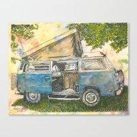 volkswagon Canvas Prints featuring VW Camper Bus by Barb Laskey Studio