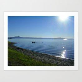 Sun glint off Lake Taupo Art Print