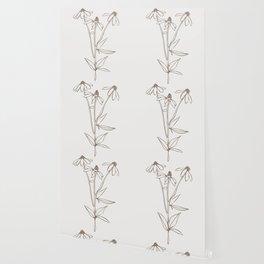 Simple Line drawing in Choco Cream, Botanical Art Wild field Flower, Wallpaper
