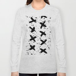 X Paint Spatter Black and White Long Sleeve T-shirt