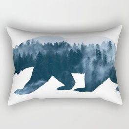 Double Exposure Design of Bear and Forest Rectangular Pillow