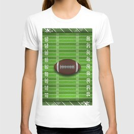 Football Field with Yard Lines and Football T-shirt
