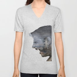 Angry shouting man face on cityscape Unisex V-Neck