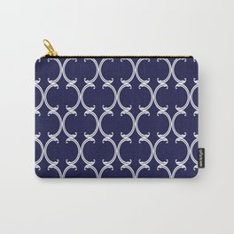 Moroccan Lattice in White on Navy Blue Carry-All Pouch