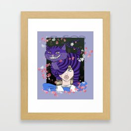 Chesire Cat and Alice Framed Art Print