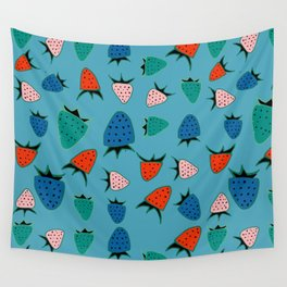 strawberry blue Wall Tapestry