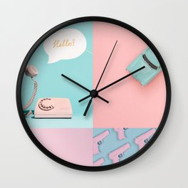 Pastel Pink and Blue/Pastel Vintage Rotary Dial Telephone/Pastel Vintage Car/Sparkly Unicorn/Pastel Pistol Wall Clock