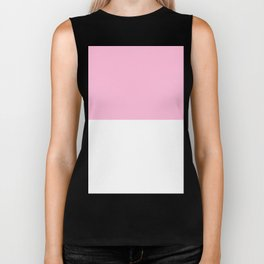 White and Cotton Candy Pink Horizontal Halves Biker Tank