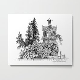 MY NORTHWEST ISLAND SEASIDE HOME PEN DRAWING Metal Print