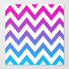 PINK & TEAL CHEVRON FADE Canvas Print