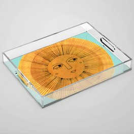 Sun Drawing - Gold and Blue Acrylic Tray