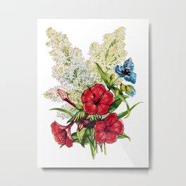 Red Hibiscus, Antique Heirloom Flower Bouquet Original Aquatint Watercolor PNG 4 Metal Print