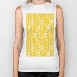 Mustard Yellow and White, Modern People Pattern. Biker Tank