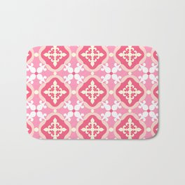 Moroccan tile - pink, red, white Bath Mat