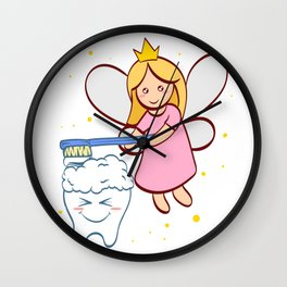 Tooth Fairy Brushing A Cute White Teeth Great Gift For Dentists Doctors, Dental Technician T-shirt Wall Clock