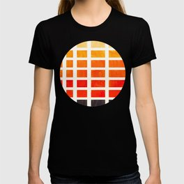 Watercolor Colorful Orange Minimalist Mid Century Modern Square Matrix Geometric Pattern Round Circl T-shirt