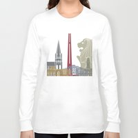 singapore Long Sleeve T-shirts featuring Singapore skyline poster by Paulrommer
