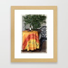 Table in front of Cafe in La Quinta California Framed Art Print