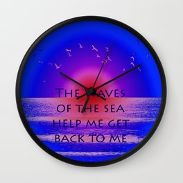 Waves of the Sea Quotation on Pink Horizon Wall Clock