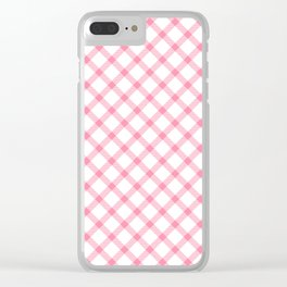Pink and White Tartan Clear iPhone Case