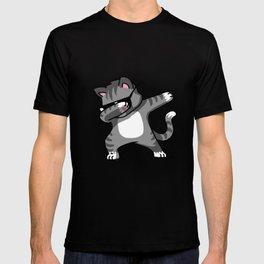 Dabbing Cat Grey T-shirt