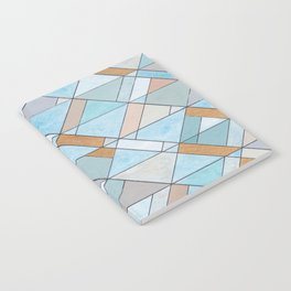 Shifting Pattern Turquoise and Gold Notebook