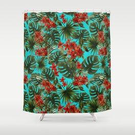 Aloha Flower Jungle Pattern Shower Curtain