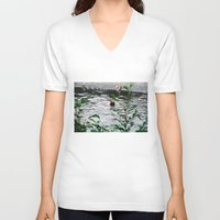fishing V-neck T-shirts featuring Fishing by Tayloroo