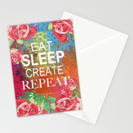 Eat Sleep Create Repeat Mixed Media Collage Stationery Cards