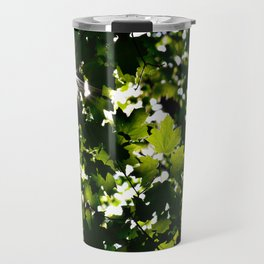 Green Maple Leaf PattrnTree Leaves Parallax Sunshine Shows Leaves Green Color Travel Mug