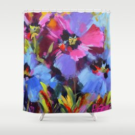Wild Blue Poppy Garden Shower Curtain