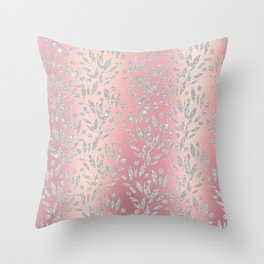Elegant pink gradient glam silver glitter floral Throw Pillow