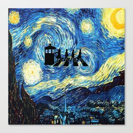 The Doctors Walking Of Starry Night Canvas Print