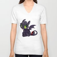 toothless V-neck T-shirts featuring Toothless by Kam-Fox