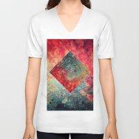 square V-neck T-shirts featuring Random Square by Esco