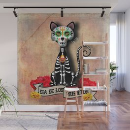 Dia De Los Muertos El Gato - Day of the Dead the Cat Wall Mural