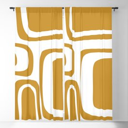Palm Springs Midcentury Modern Abstract Pattern in Mustard Gold and White Blackout Curtain