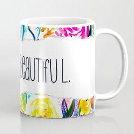 Neon Summer Floral + Hello Beautiful Coffee Mug