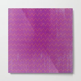 Abstract geometrical magenta pink orange watercolor chevron Metal Print