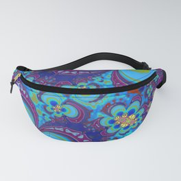 Bright Blue And Purple Flower Pattern Fanny Pack