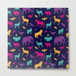 Colorful Wild Animal Silhouette Pattern Metal Print