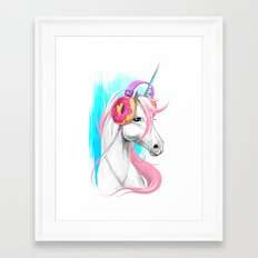 Unicorn in the headphones of donuts Framed Art Print