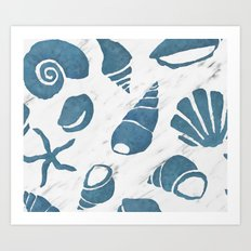 Azure South pacific sea shells - white marble Art Print