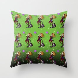 Young enchantress creating a fireball Green Pattern Throw Pillow
