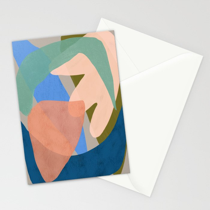 Shapes and Layers no.30 - Large Organic Shapes Blue Pink Green Gray Stationery Cards