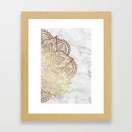 Mandala - Gold & Marble Framed Art Print