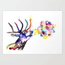 Winter Stag fantasy Christmas Gifts Art Print